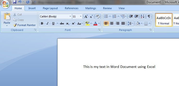 Word- Write using Excel