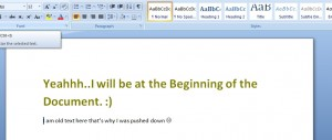 MS word - append Text at beginning