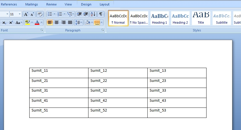 Add Table and fill data to the Word document