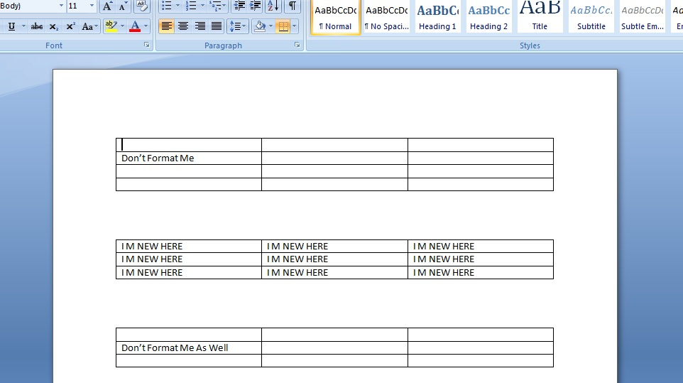 vba excel format the existing table in a word document. Black Bedroom Furniture Sets. Home Design Ideas