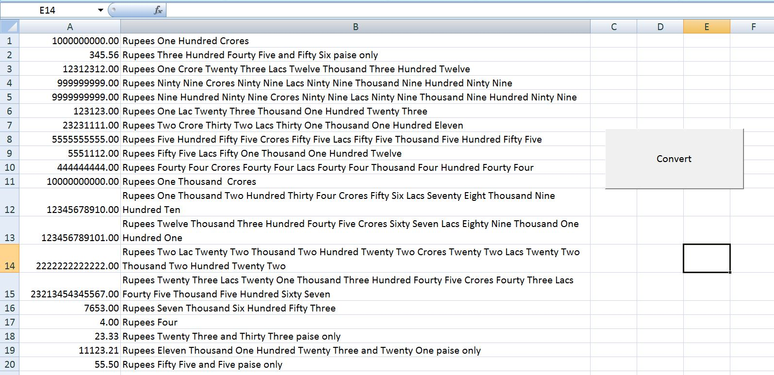 Vba Excel Convert Numbers Rupees Into Words Or Text