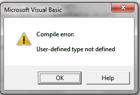 """Compile error: User-defined type not defined"""
