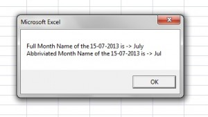 The MonthName function takes numeric value as a parameter and returns a Month Name.