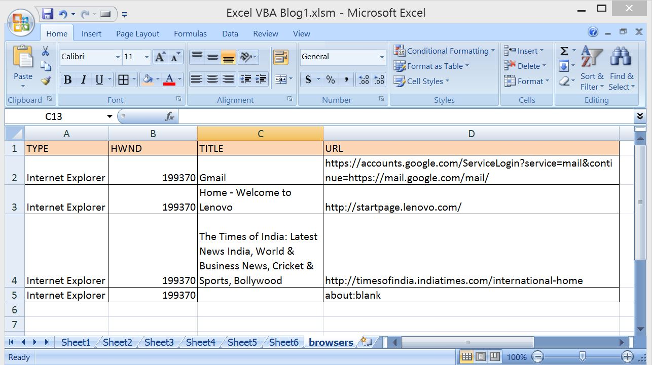 VBA-Excel: Get ALL The Opened Internet Explorer (IE) using