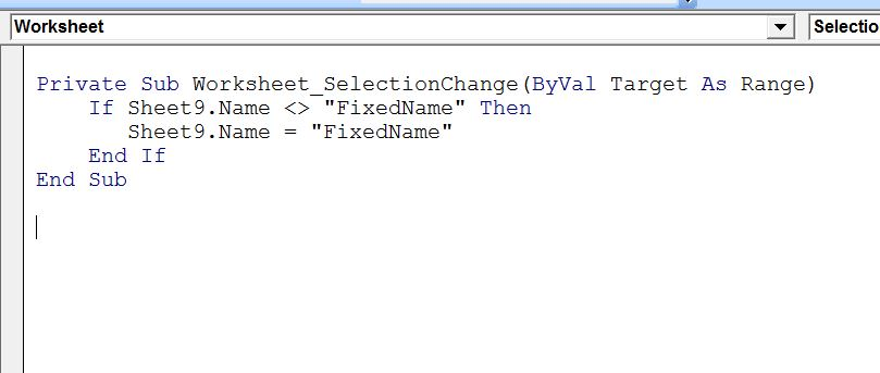 Excel-VBA : Prevent Changing the WorkSheet Name