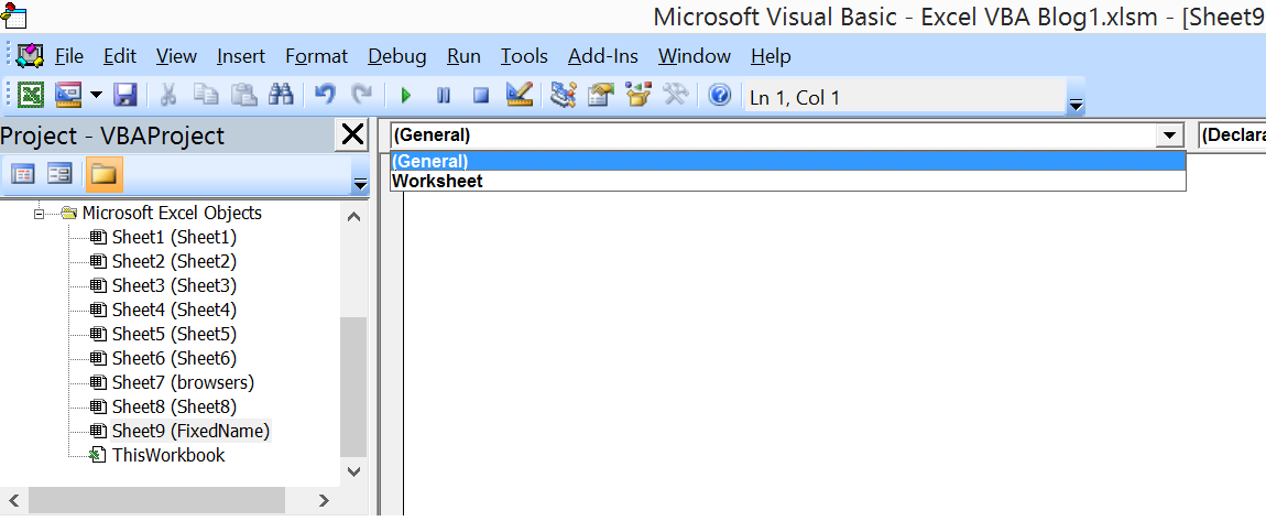 Select WorkSheet from dropdown