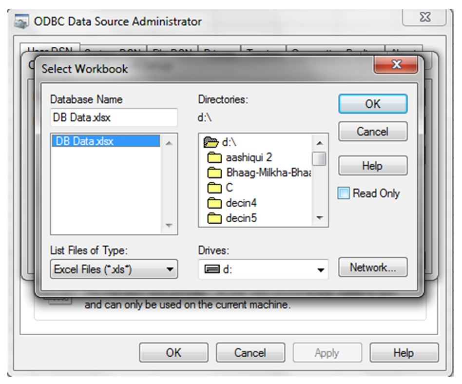 ODBC Data Source Administrator - Select WorkBook