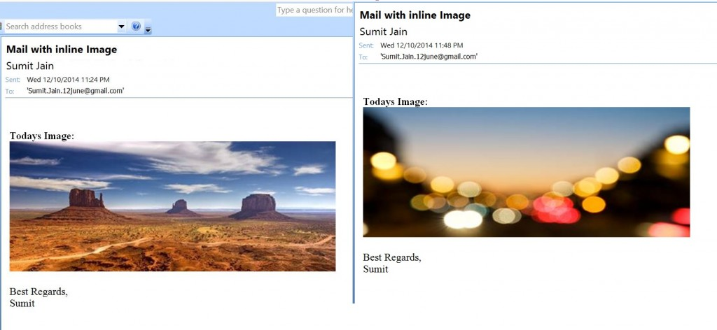 Different Images in New Mail