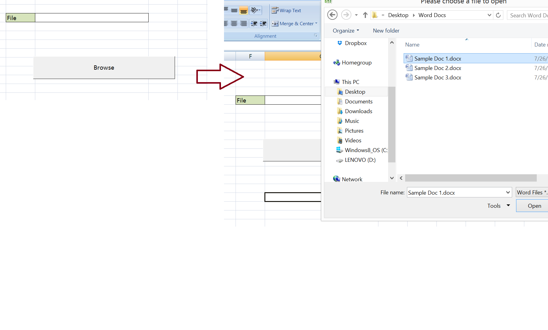 Excel-VBA : Open a MS Word Document using Excel File using Explorer