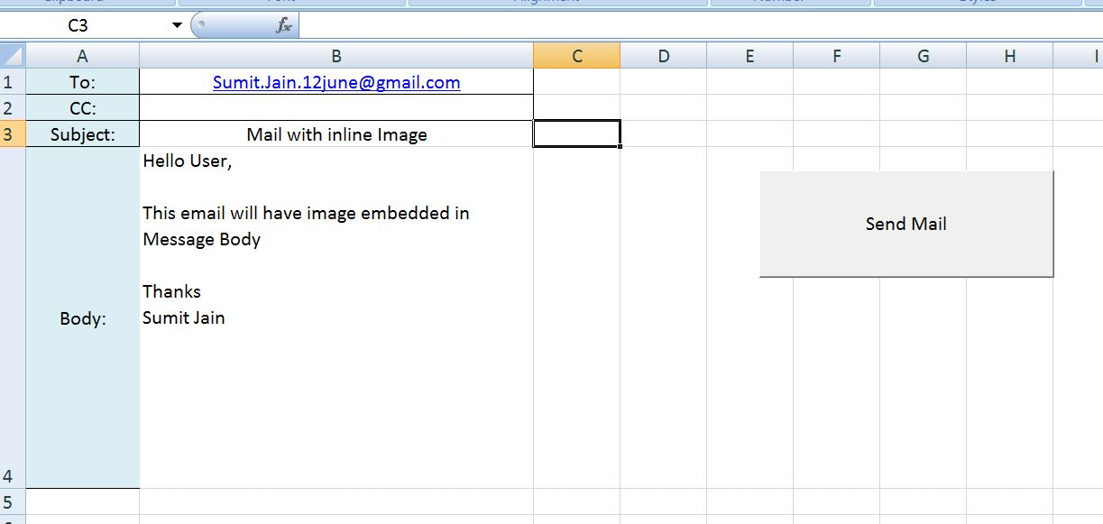 excel macro to send email using outlook