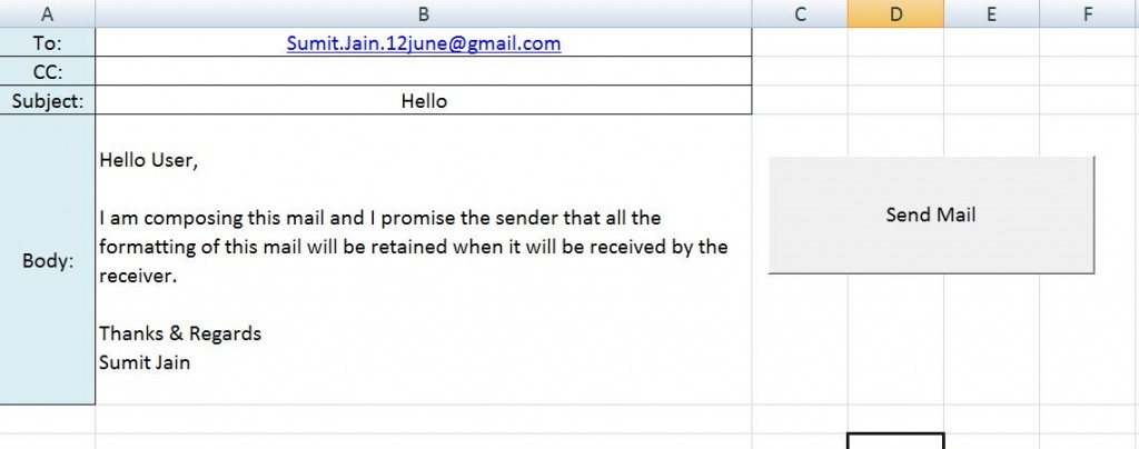 Send a Mail using Predefined Template From MS Outlook Using Excel