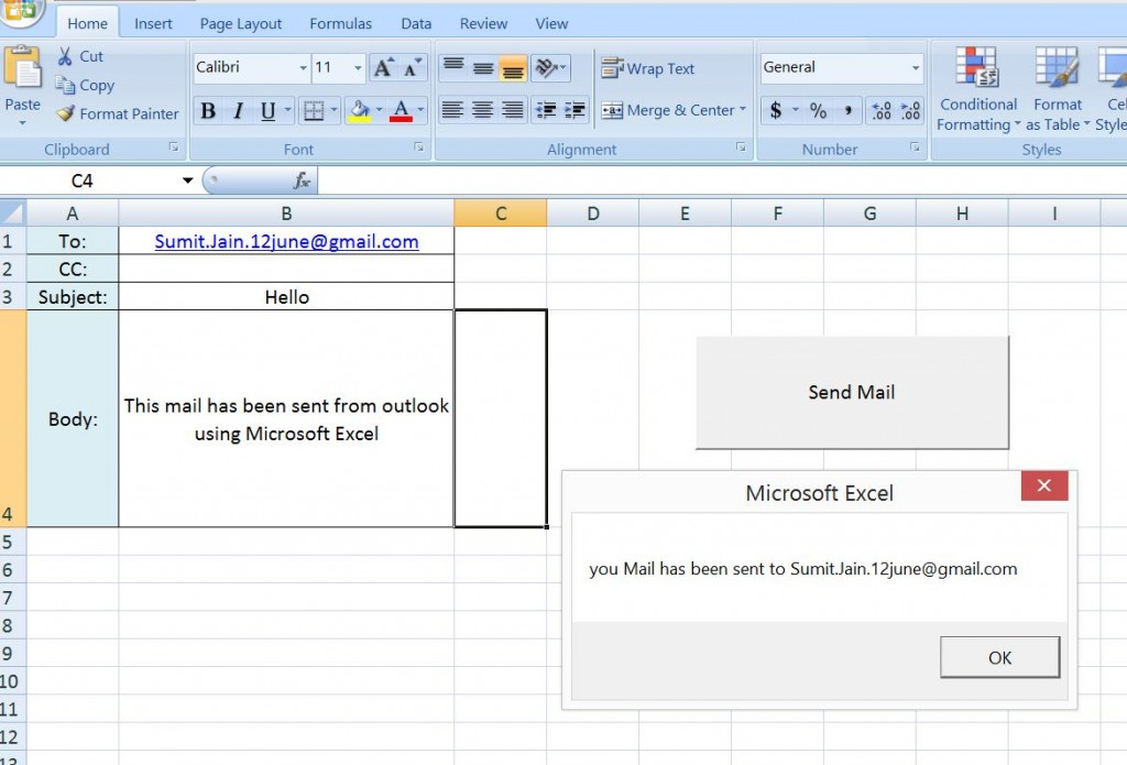 Send a Simple Mail From MS Outlook Using Excel