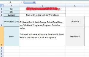 Send Mail With Link to a Workbook, From MS Outlook  - Mail