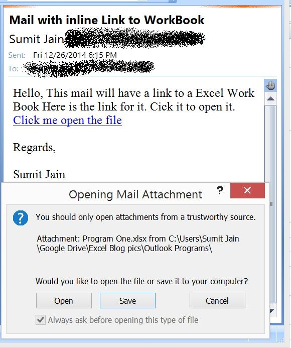 Send Mail With Link to a Workbook, From MS Outlook  - Open excel 2