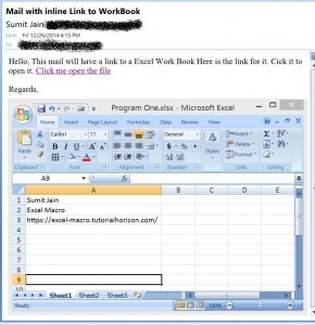 Send Mail With Link to a Workbook, From MS Outlook  - Open excel 3