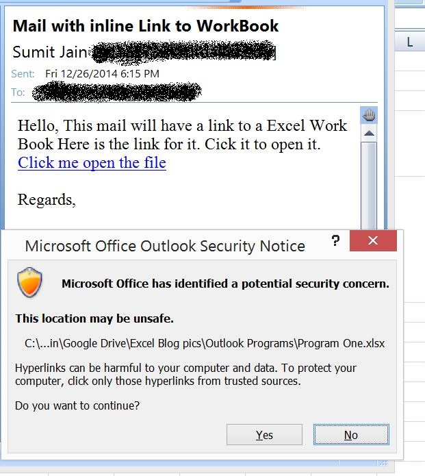 Send Mail With Link to a Workbook, From MS Outlook  - Open excel
