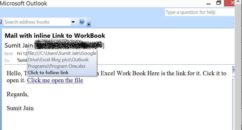 Send Mail With Link to a Workbook, From MS Outlook  - Output
