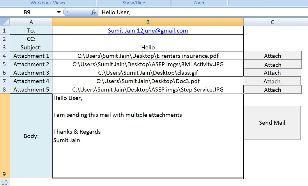 Send Mail With Multiple Different Attachments From MS Outlook using Excel