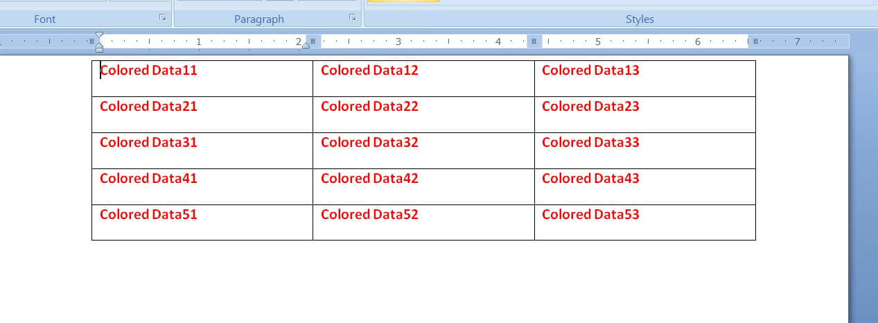 Change Font, Color, Weight of Table Data in the Word document