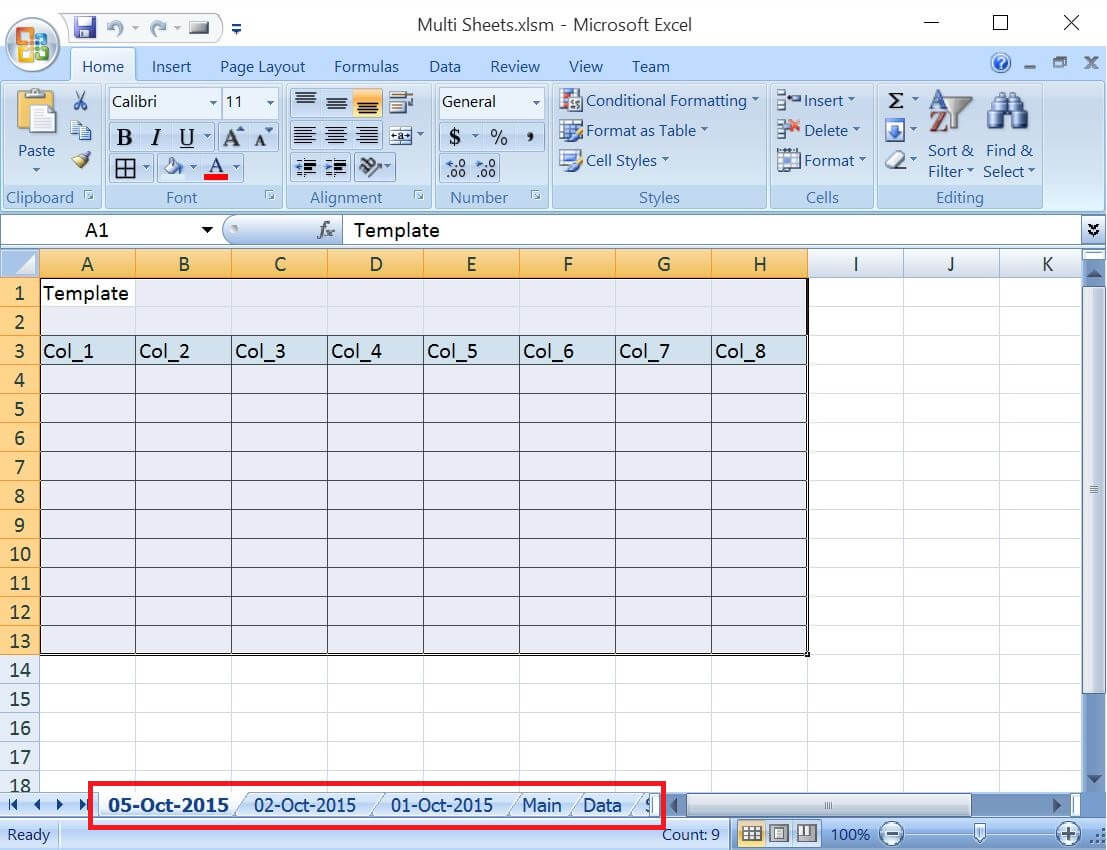 Add Worksheets For All The Given Dates Except Weekends and Copy The Common Template In Each Worksheet