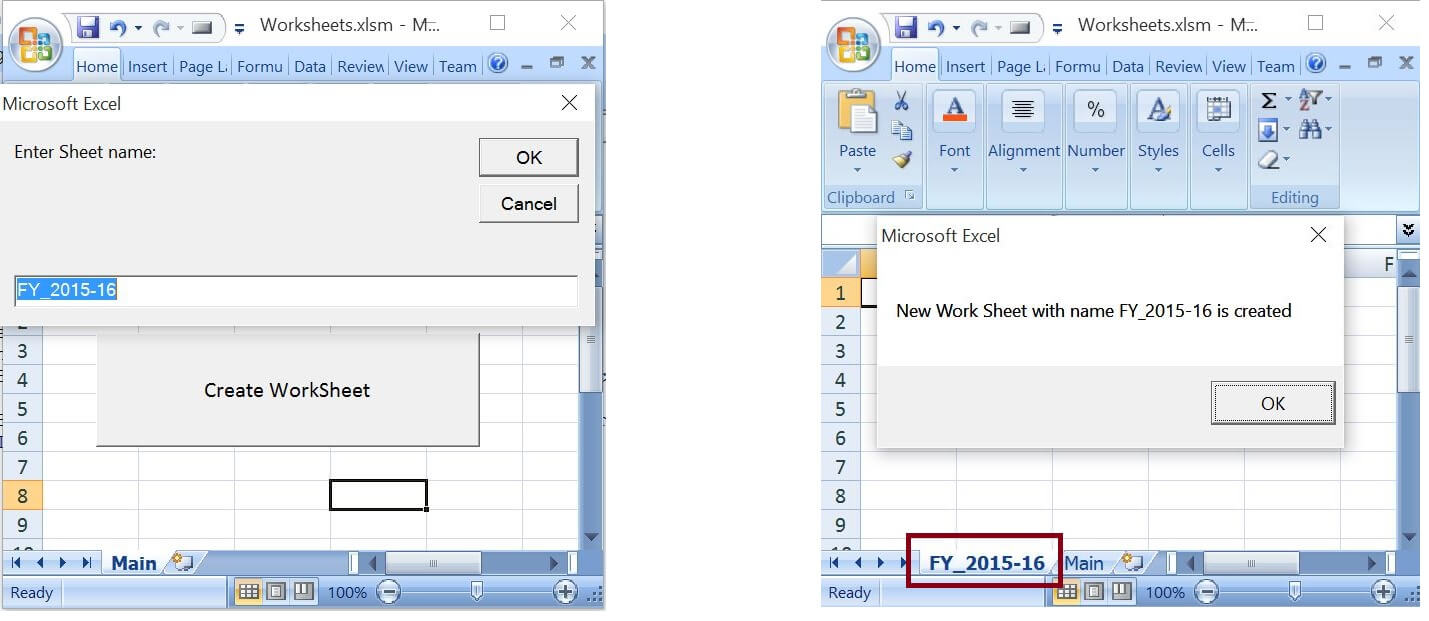 Create worksheets with Names in Specific FormatPattern – Excel Worksheet Name